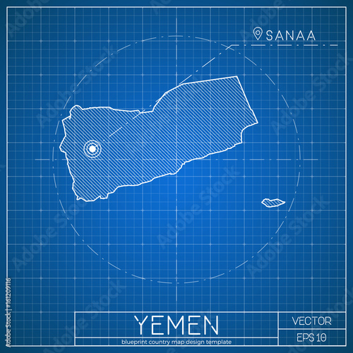 Yemen blueprint map template with capital city sanaa marked on yemen blueprint map template with capital city sanaa marked on blueprint yemeni map vector malvernweather Images