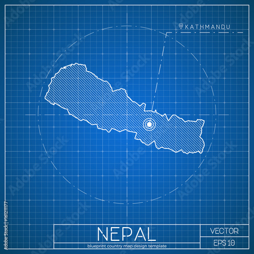 Nepal blueprint map template with capital city kathmandu marked on nepal blueprint map template with capital city kathmandu marked on blueprint nepalese map vector malvernweather Images