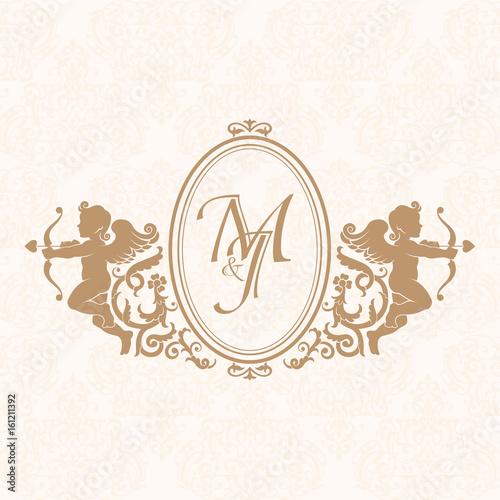 Elegant Fl Contour Monogram Design Template With Cupids For One Or Two Letters Wedding Business Sign Ideny Restaurant