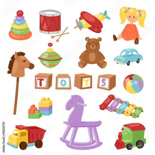 Set of different cartoon vector kids toys collection isolated on white backgroun Canvas-taulu