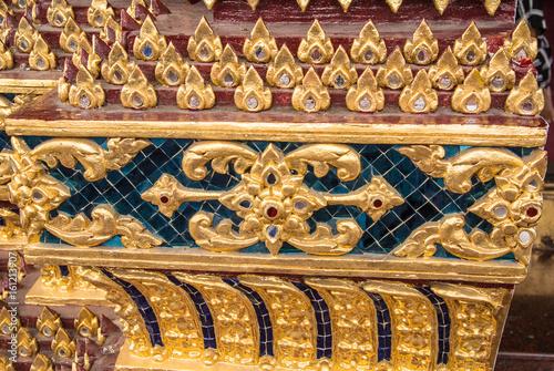 Thai motifs on the walls of the church in Wat Kalayanamitr in Bangkok Thailand Poster