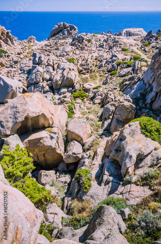 Fotografie, Obraz  Bizarre granite rock formations in Capo Testa, Sardinia, Italy