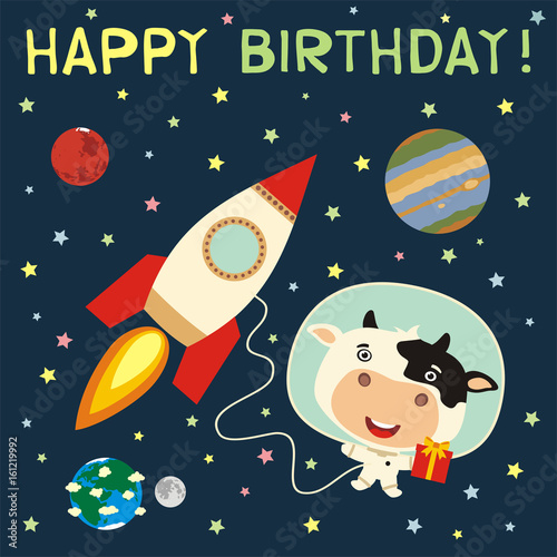 Happy Birthday Funny Cow With Gift In Spacesuit Next To Rocket In