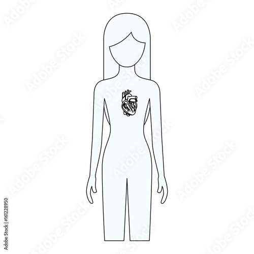sketch silhouette of female person with heart system human body