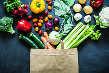 Colorful Organic Vegetables In Paper Eco Shopping Bag