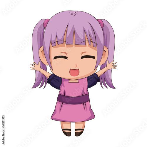 cute anime chibi little girl cartoon style Canvas Print