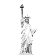Statue Of Liberty, New York, USA. Black Halftone Illustration Of Dots In Diagonal Arrangement On White Background.