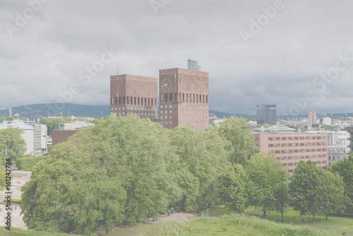 View of Oslo harbor with city hall in background Poster