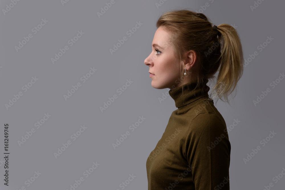 Fototapeta profile portrait of a casual pretty woman. Isolated