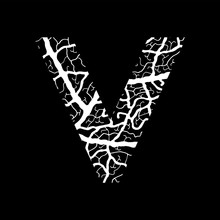 Nature Alphabet, Ecology Decorative Font. Capital Letter W Filled With Leaf Veins Pattern White On Black Background. Leaves Texture Hand Draw Nature Alphabet. Vector Illustration.