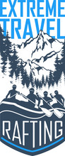 Vector Whitewater Rafting Emblems Illustration