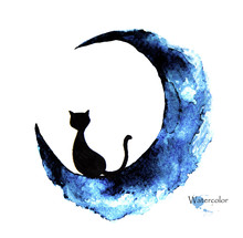 Hand Drawn Watercolor Painting Of Black Cat Sitting On The Moon