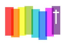 Kreuz, Regenbogenfarben