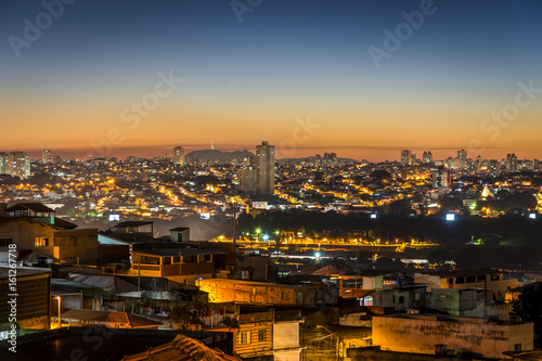 Sunset in Sao Paulo city, travel in vacation to Brazil
