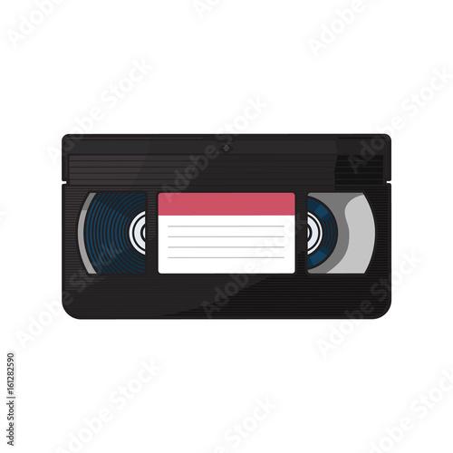 Valokuvatapetti Video cassette, VHS videotape from 90s, sketch vector illustration isolated on white background