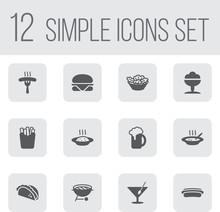 Set Of 12 Eat Icons Set.Collec...