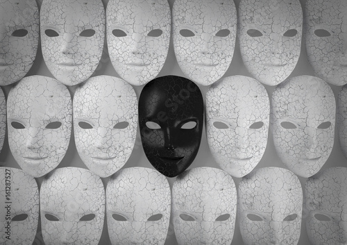 Fotografija Smiling black mask among white masks, Hypocritical concept, 3d rendering