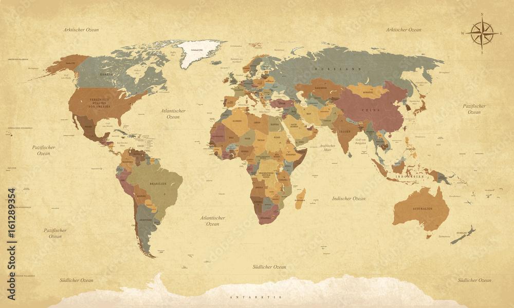 Fototapety, obrazy: Weltkarte auf Deutsch - Vintage retro stil - Vektorisiert texte : länder, hauptstädte, inseln, meere...