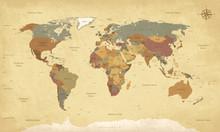 Weltkarte Auf Deutsch - Vintag...
