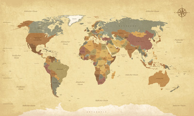Weltkarte auf Deutsch - Vin...