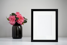 Mock Up Black Photo Frame On A...
