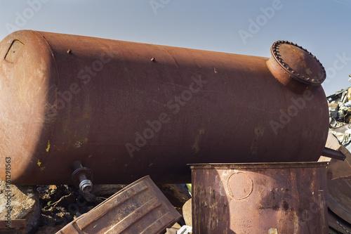 Rusty underground storage tank on junkyard Tapéta, Fotótapéta