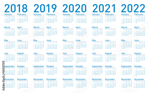 Fotografia  Simple Blue Calendar for years 2018,2019, 2020, 2021 and 2022, in vectors