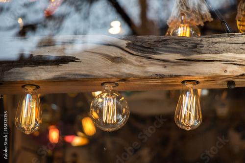 Stampa su Tela Decorative antique edison style light bulbs
