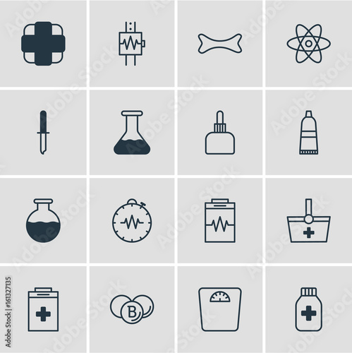 Vector Illustration Of 16 Health Icons Editable Pack Of Pressure