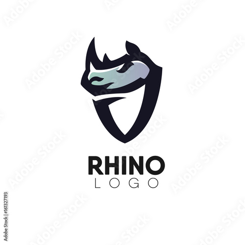 Photo Stands Owls cartoon Rhinos head with shield creative logo design template.