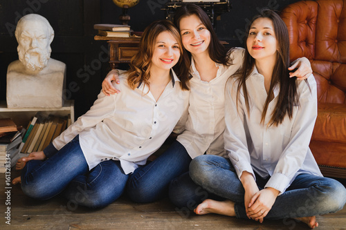Girls Having Fun At Home Three Young Female Friends Best Friends Laughing And Posing For Photos People Friendship Lifestyle Concept Buy This Stock Photo And Explore Similar Images At Adobe Stock