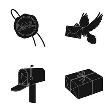 Wax Seal, Postal Pigeon With Envelope, Mail Box And Parcel.Mail And Postman Set Collection Icons In Black Style Vector Symbol Stock Illustration Web.