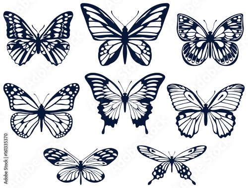 Fotobehang Vlinders in Grunge Collection of silhouettes of butterflies. Butterfly icons. Vector illustration.