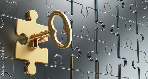 Fotografía  Golden key in a keyhole puzzle. Illustration of 3D rendering.
