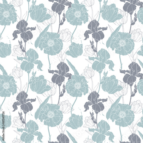 wektor-srebrny-szary-maki-i-tulipany-kwiatowy-bezszwowe-tlo-wzor-powtarzac-doskonaly-do-dekoracji-weselnych-lub-weselnych-zaproszen-upominkow