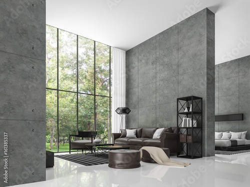 Beautiful Modern Loft Living Room And Bedroom 3d Rendering Image The Room Has A High  Ceiling.
