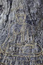 Big Buddha Image On The Mountain. Wat Khao Chi Chan, Pattaya, Thailand