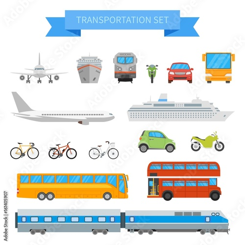 Fotografie, Obraz Vector set of different transportation vehicles isolated on white background