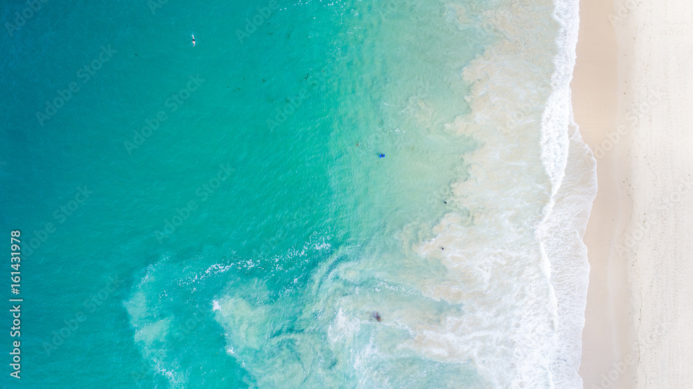 Fototapeta Aerial View of Beautiful Crystal Cove, Orange County