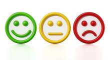 Green, Yellow And Red Faces Showing Satisfaction Levels. 3D Illustration