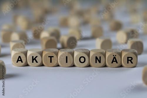 Fotografía  AKTIONÄR - Bilder mit Wörtern aus dem Bereich Börse, Wortwolke, Würfel, Buchstab