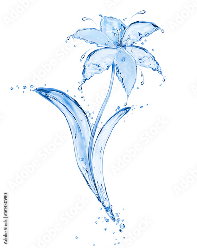 Poster de jardin Nénuphars Blue flower made of fresh water splashes isolated on white background