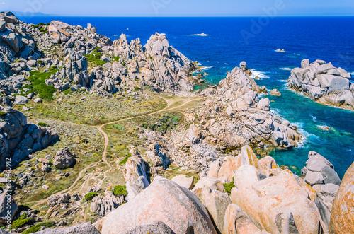 Photo  Huge Granite Rocks formations in Capo Testa in north Sardinia, Italy
