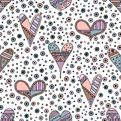 NaklejkaVector hand drawn seamless pattern, decorative stylized childish hearts. Doodle style, tribal graphic illustration Cute hand drawing in vintage colors. Series of doodle, cartoon, sketch illustrations