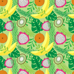 Panel Szklany Owoce Vector seamless pattern with tropical fruits and plants. Bananas, oranges, kiwi and dragon fruit.