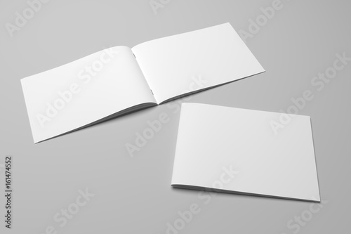 Blank 3D rendering brochure magazine on gray with clipping path No. 10