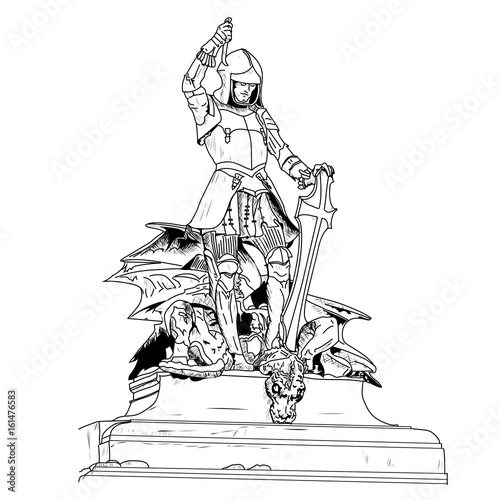It is a 16th century jewel encrusted statue of Saint George slay Wallpaper Mural