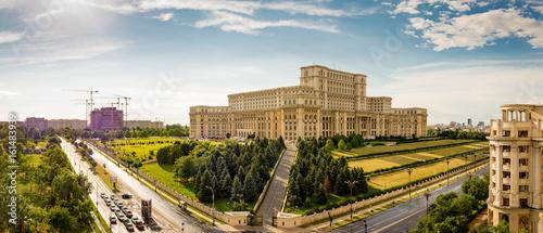 Parliament of Romania, panorama at sunset