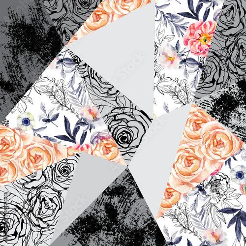 akwarela-i-atrament-natura-kwiaty-liscie-chwasty-tlo-trojkatne-ksztalty