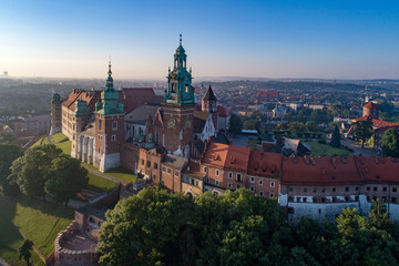 FototapetaHistoric royal Wawel castle and cathedral in Krakow, Poland Aerial view in sunrise light